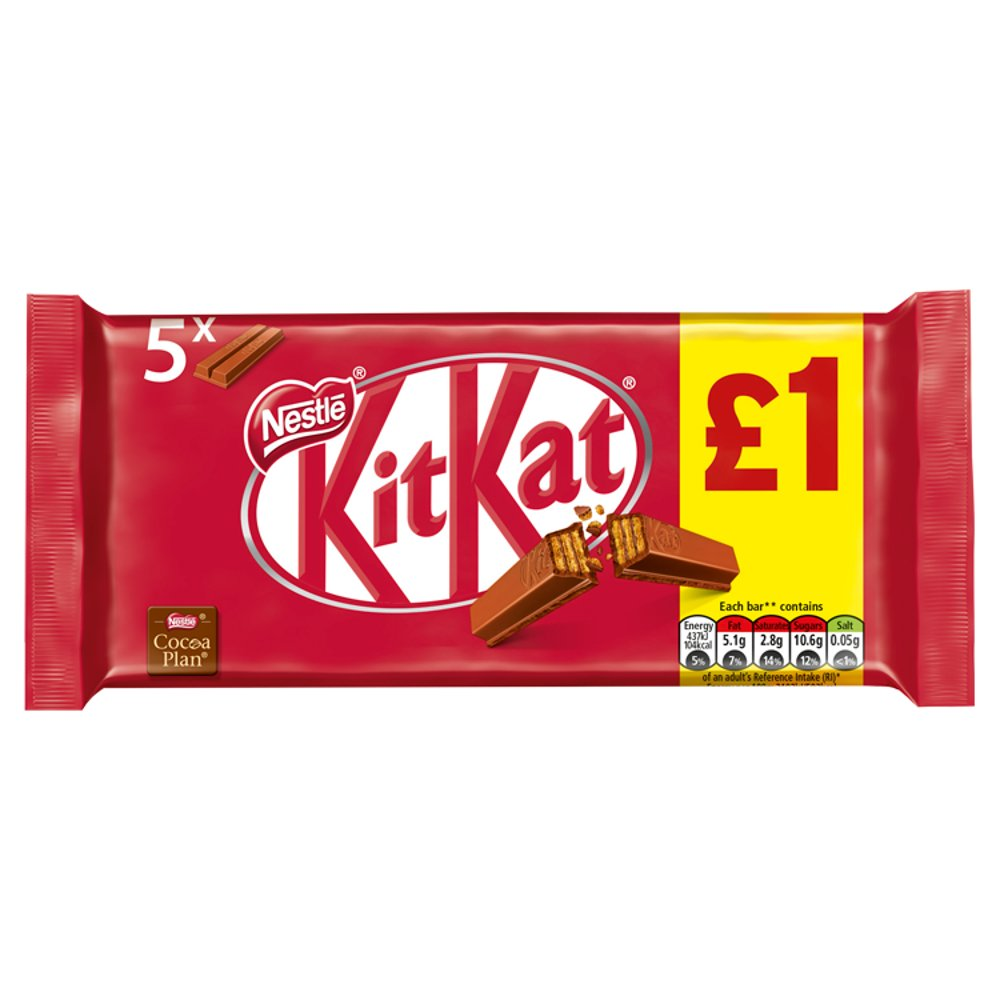 KitKat 2 Finger Milk Chocolate Biscuit Bar 5 Pack