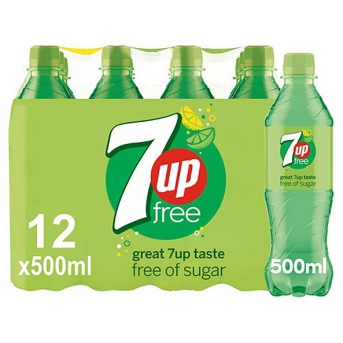 7UP Free Lemon and Lime, 500ml (Case of 12)