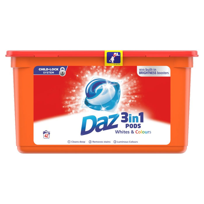 Daz 3in1 Pods Whites & Colours Washing Liquid Capsules 42 Washes