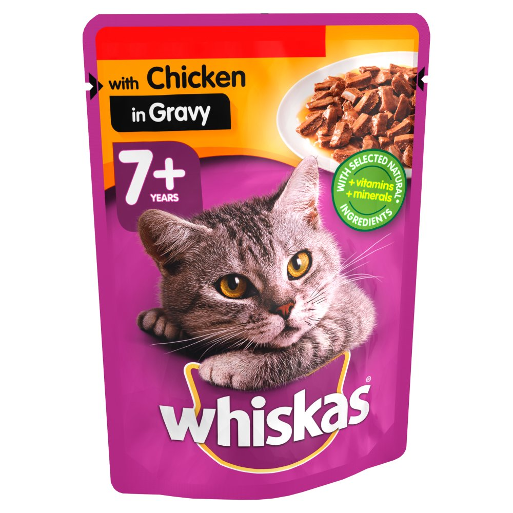 Whiskas Chicken in Gravy Wet Senior 7+ Cat Food Pouches, 100g (Pack of 24)