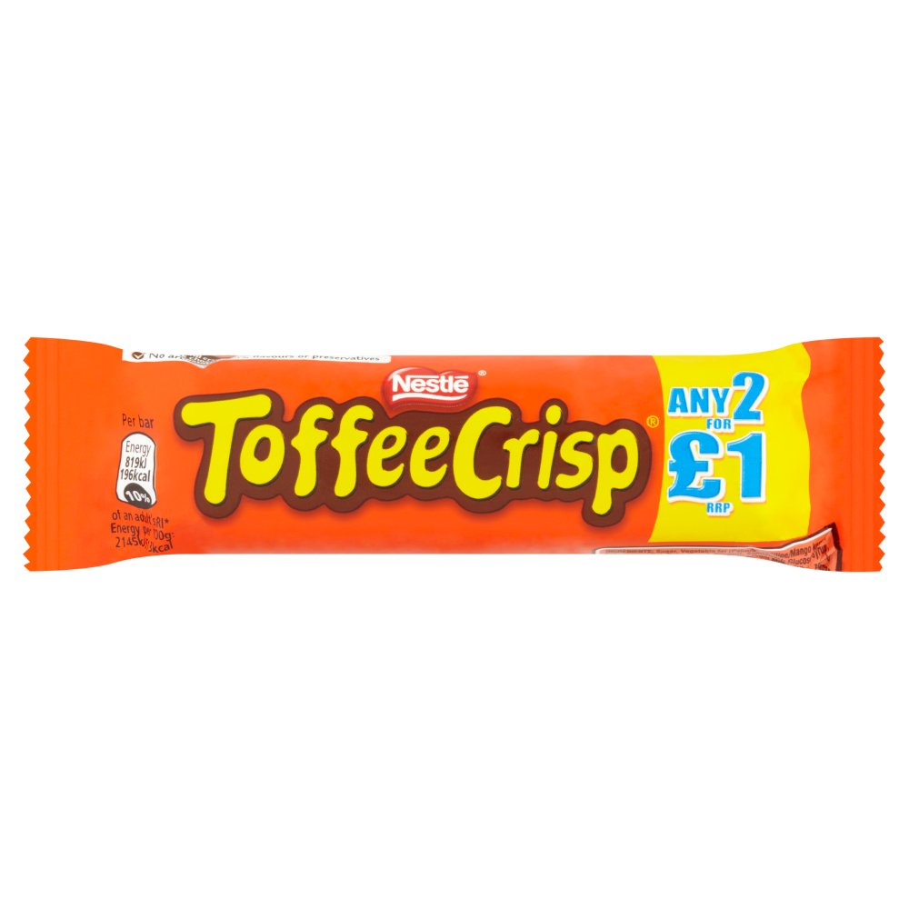 Toffee Crisp Milk Chocolate Bar, 38g (Box of 24)