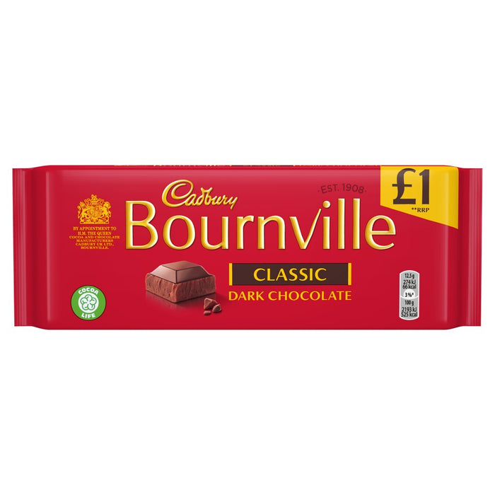 Cadbury Bournville Classic Dark Chocolate Bar, 100g (Box of 18)