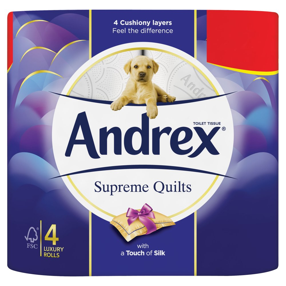 Andrex Quilts Pack of 6 x 4 Rolls (Total 24 Toilet Rolls)
