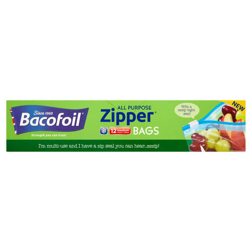 Bacofoil Zipper All Purpose Bags 12 x Medium