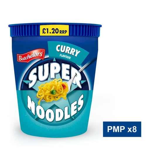 Batchelors Super Noodles Pot Curry Flavour, 75g (Case of 8)
