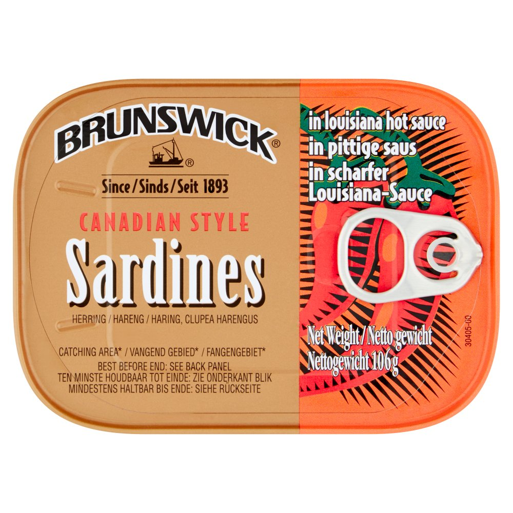 Brunswick Canadian Style Sardines in Louisiana Hot Sauce, 106g (Case of 12)