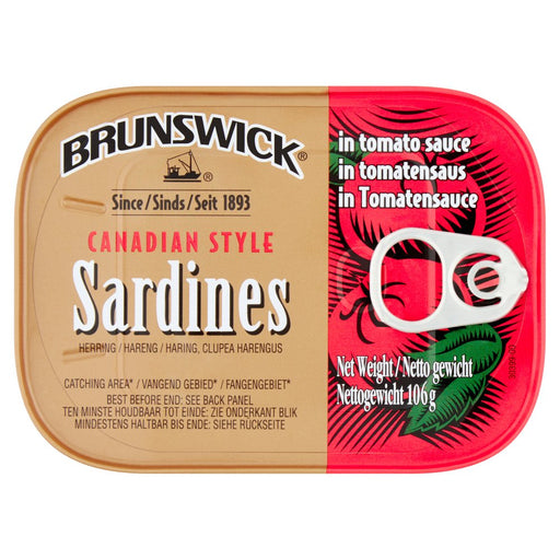 Brunswick Canadian Style Sardines in Tomato Sauce, 106g (Case of 12)