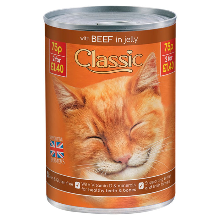 Classic Beef in Jelly Cat Food Tin, 400g (Pack of 12)