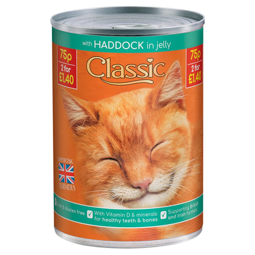 Classic Haddock in Jelly Cat Food Tin, 400g (Pack of 12)