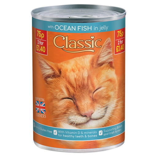 Classic Ocean Fish in Jelly Cat Food Tin, 400g (Pack of 12)