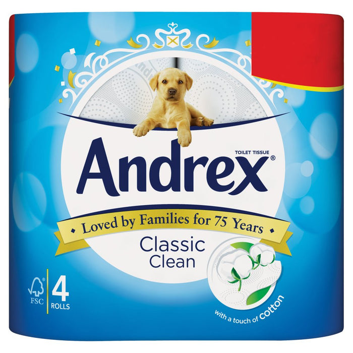 Andrex Classic Clean Case of 6 x 4 Rolls (Total 24 Toilet Rolls)