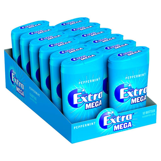 Extra Mega Peppermint Chewing Gum Sugar Free Small Bottle 10 Cubes (Pack of 12)