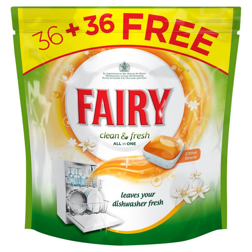 Fairy Clean & Fresh Citrus Grove Dishwasher Total 72 Tablets