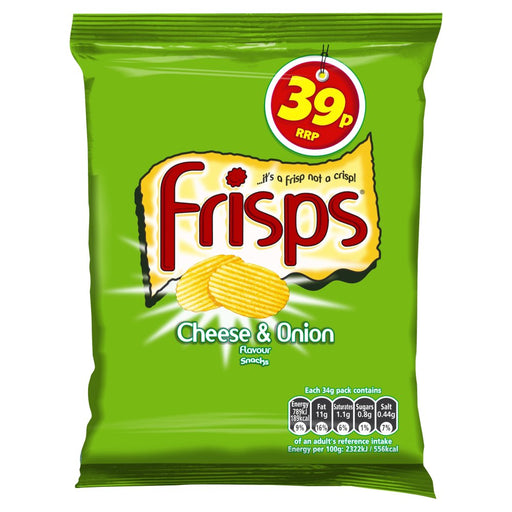 Frisps Cheese & Onion Snacks, 34g (Box of 30)
