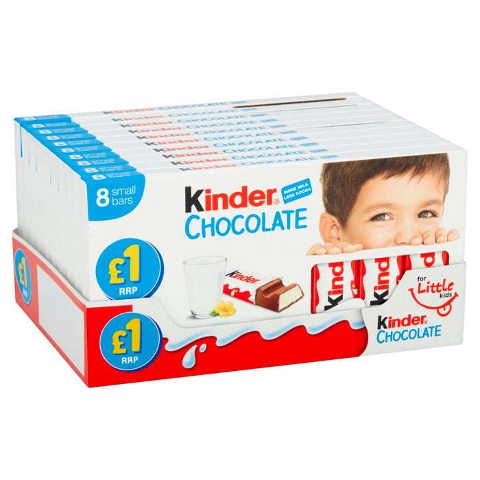 Kinder Chocolate, Small 8 Bars, 100g (Box of 10, Total 80 Bars x 12.5g)