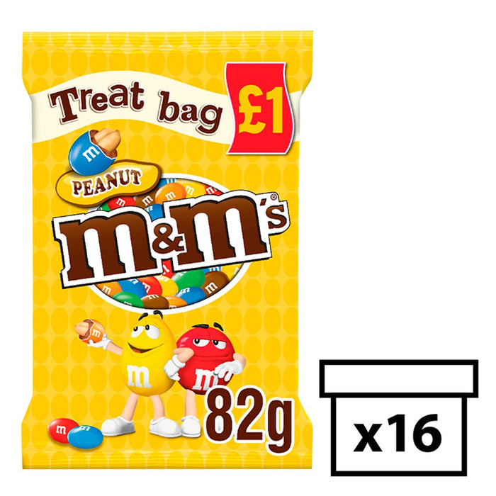 M&M's Peanut Chocolate Treat Bag, 82g (Box of 16)