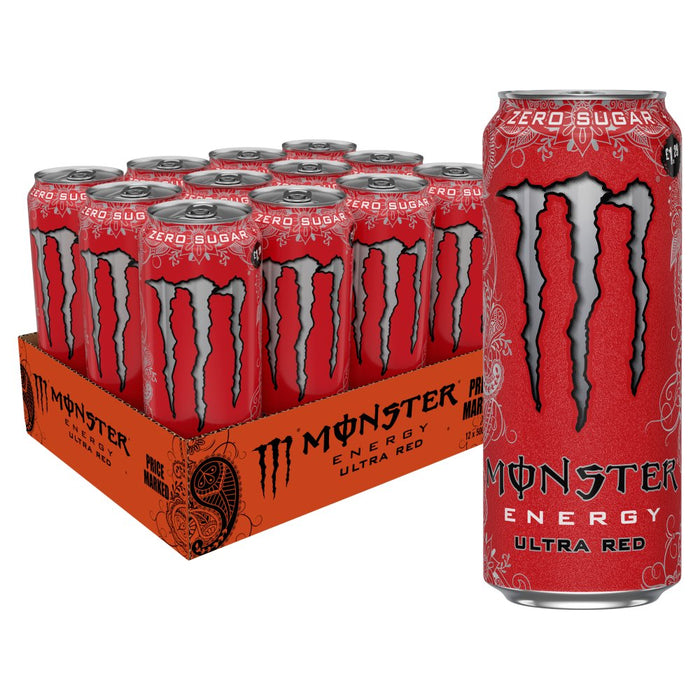 Monster Ultra Red Energy Drink Zero Sugar, 500ml (Case of 12)