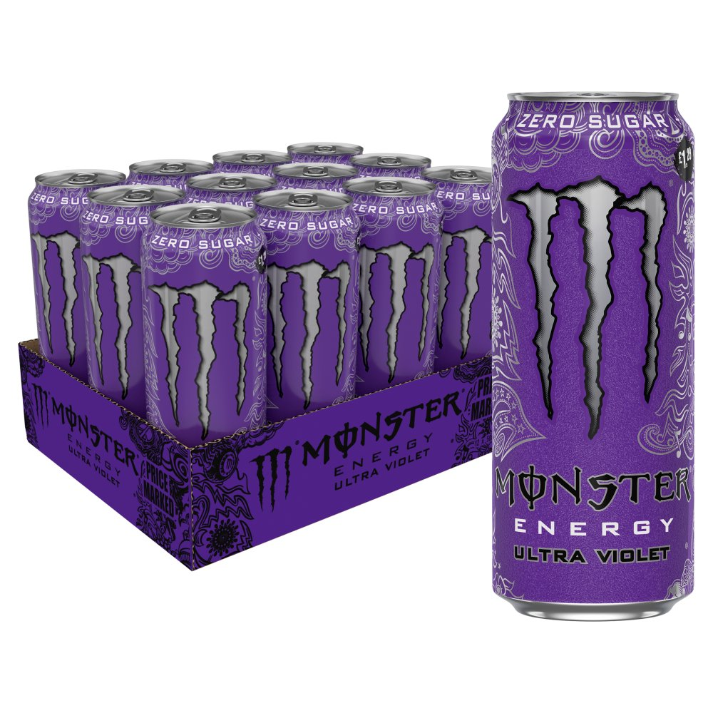 Monster Ultra Violet Energy Drink Zero Sugar, 500ml (Case of 12)