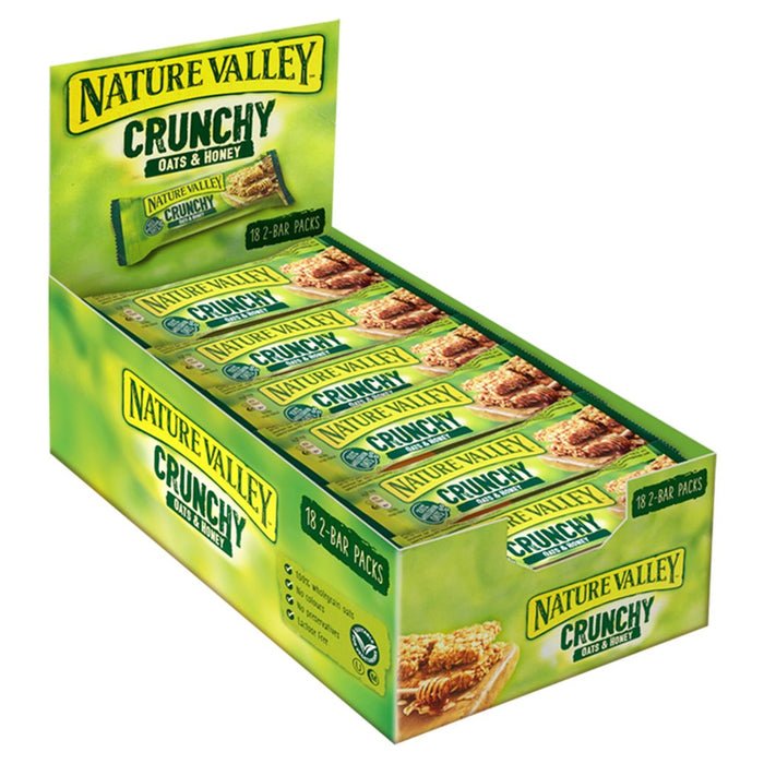 Nature Valley Crunchy Oats & Honey Cereal Bar, 42g (Box of 18)