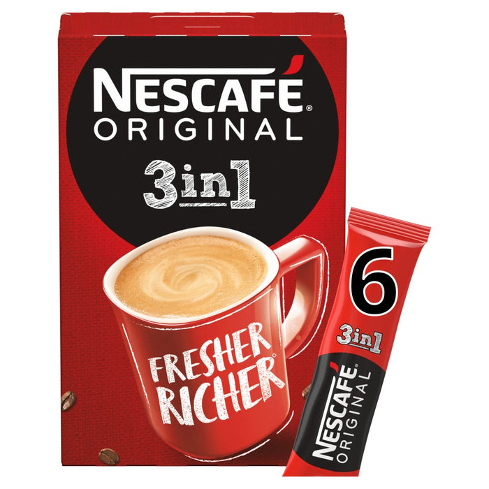 Nescafe Original 3in1 Instant Coffee 6 Sachets, 17g (Box of 11)