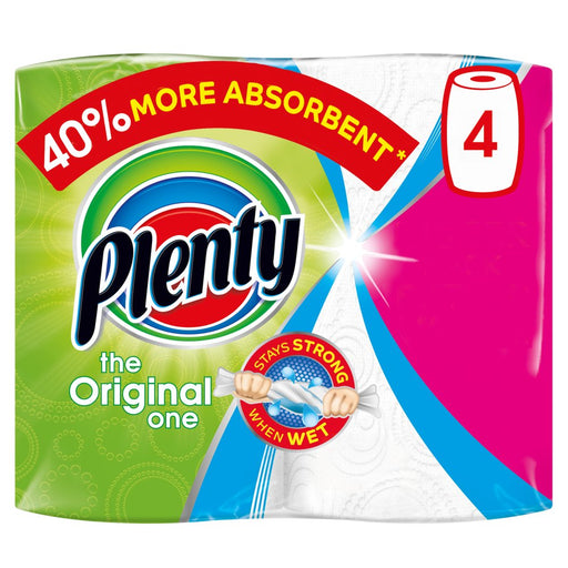 Plenty White Kitchen Roll 400 Sheets (4 Rolls)