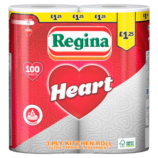 Regina Heart Kitchen Roll 3 Ply 100 Sheets