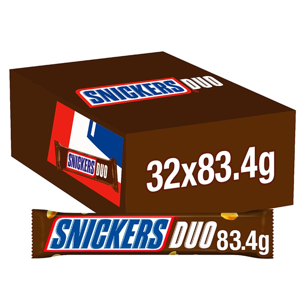 Snickers Chocolate Duo Bar, 83.4g (Box of 32)