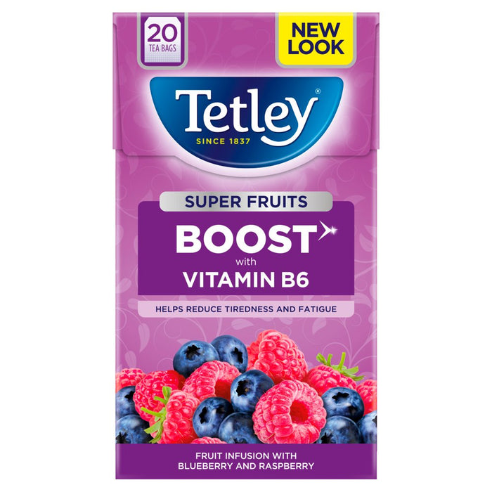 Tetley Super Fruits Boost Blueberry & Raspberry 20 Tea Bags (Pack of 4)