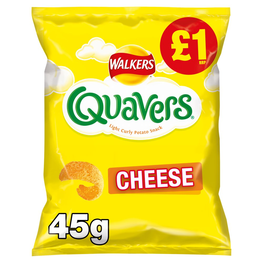 Walkers Quavers Cheese Snacks, 45g (Box of 15)