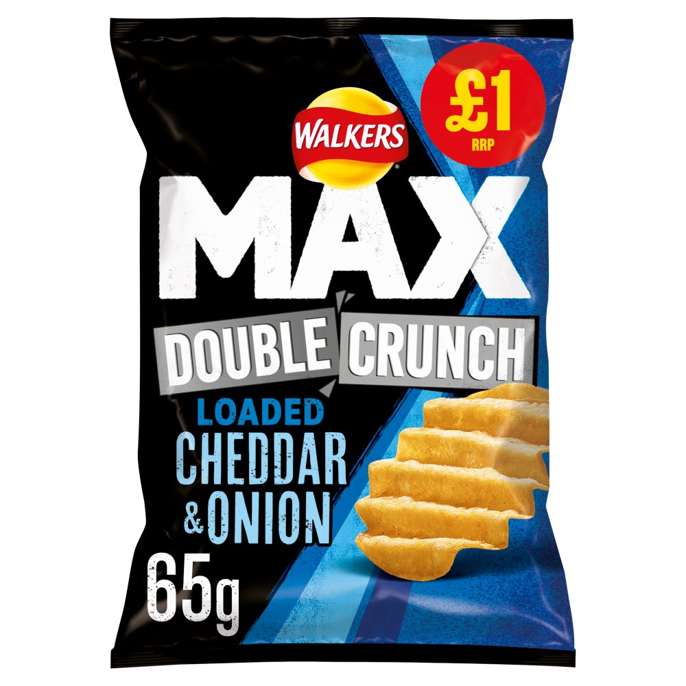 Walkers Max Double Crunch Loaded Cheddar & Onion Crisps
