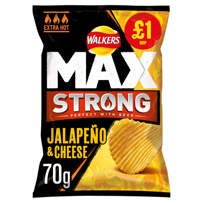 Walkers Max Strong Jalapeño & Cheese Crisps, 70g (Box of 15)