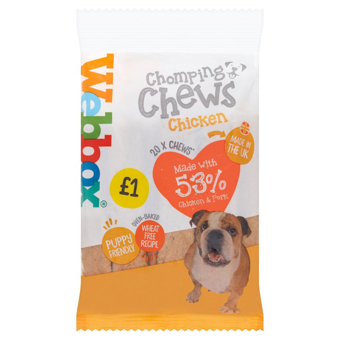 Webbox Prime 20 Chomping Chews with Chicken, 200g (Pack of 16)