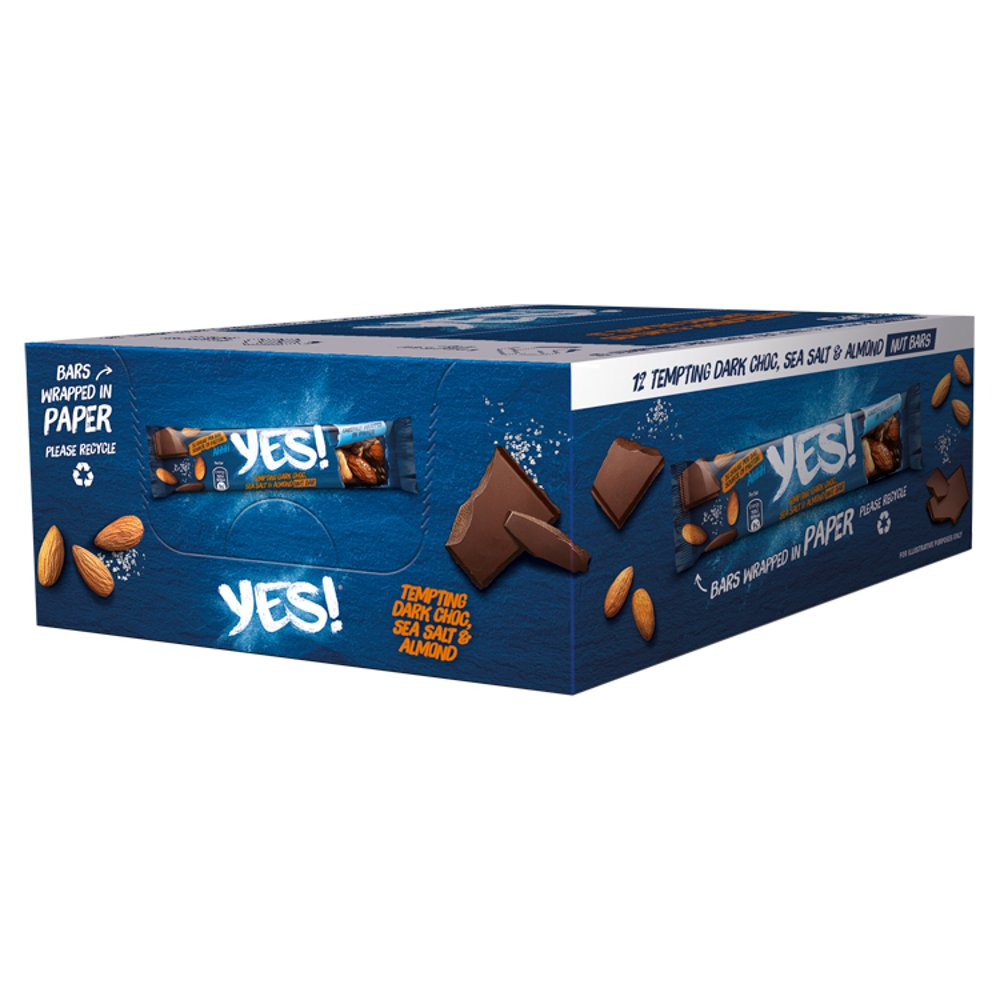 YES! Dark Choc, Sea Salt and Almond Nut Snack Bar, 35g (Box of 12)