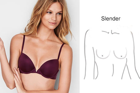 slender and dispersed breast shape