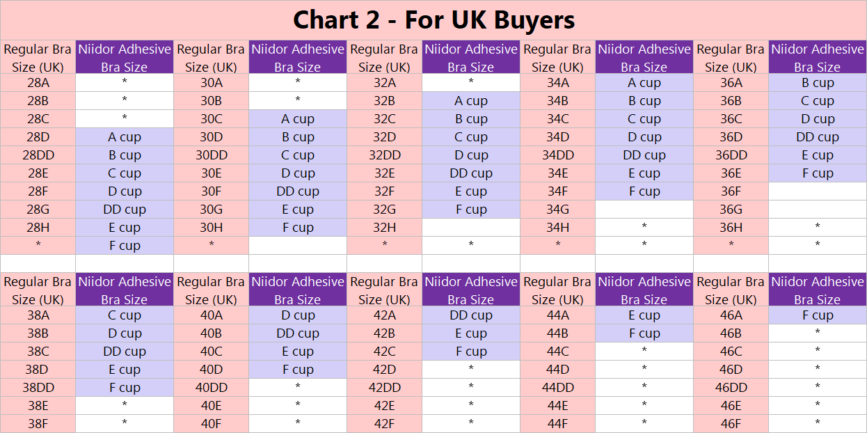 uk size chart of niidor adhesive bras