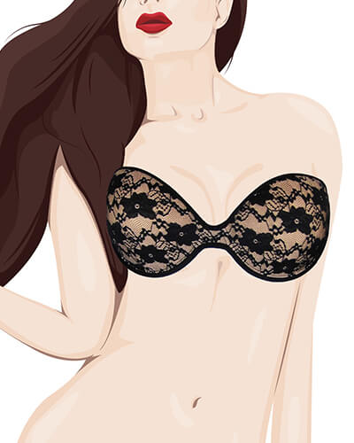 woman wearing strapless bras cartoon