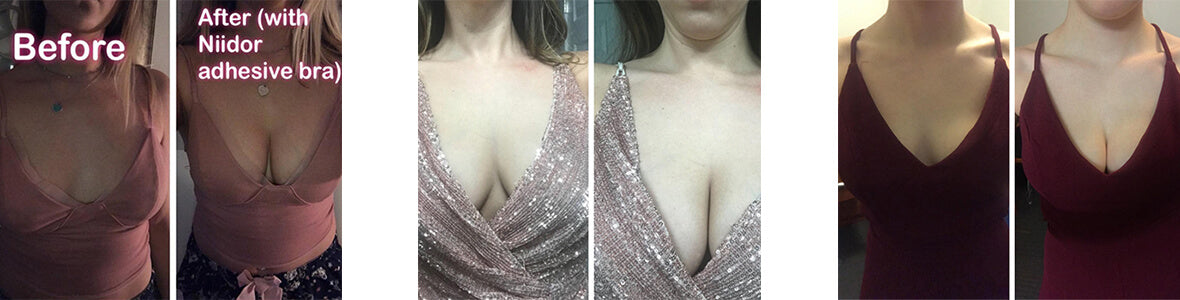 The comparison before after using adhesive bras