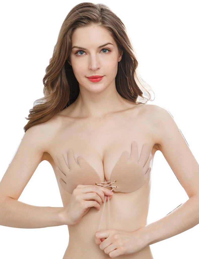 Hand-Shaped Adhesive Bra Strapless Backless Invisible Push up Breast Pasties Breathable Sticky Bra - Niidor