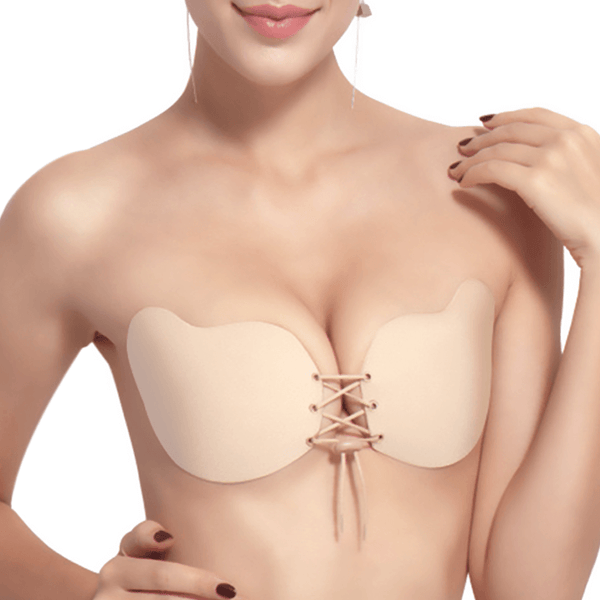 Drawstring Insivible Push Up Adhesive Bra - Niidor
