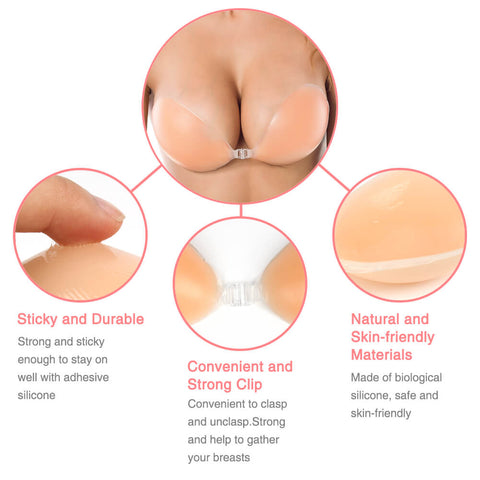 Classic Backless Stripless Stick-on Silicone Bra,Free Gift 2PCs Silicone Nipple Covers - Niidor