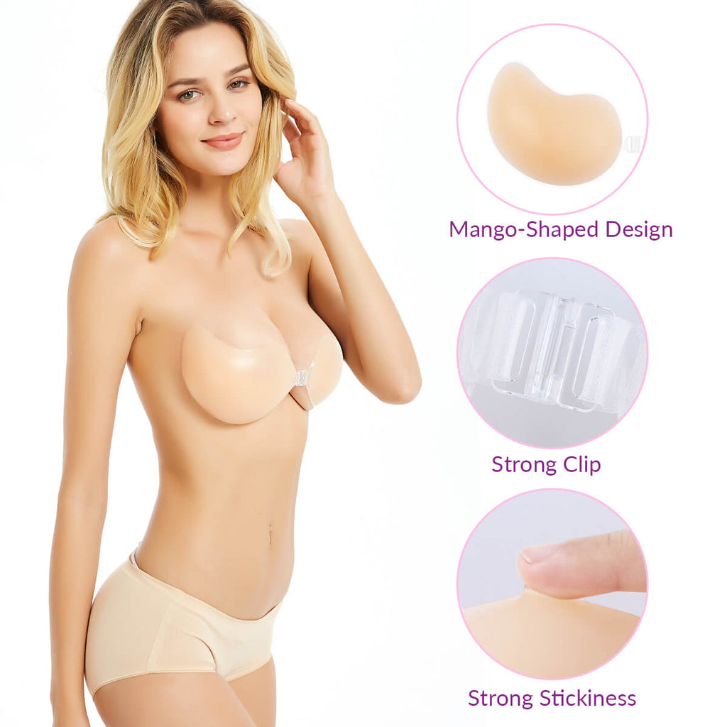 Backless Stripless Stick-on Silicone Bra,Free Gift 2PCs Silicone Nipple Covers - Niidor