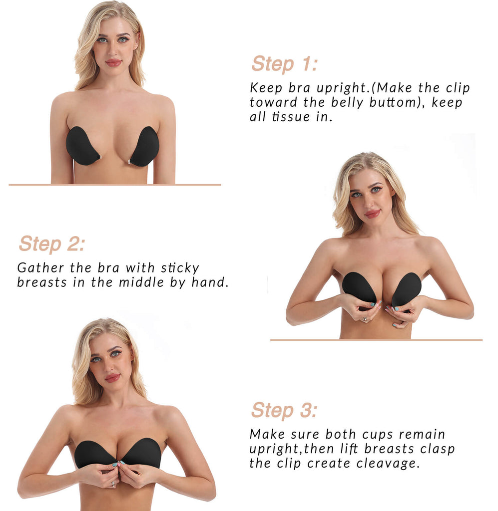 Strapless Backless Push up Adhesive Bra - Niidor