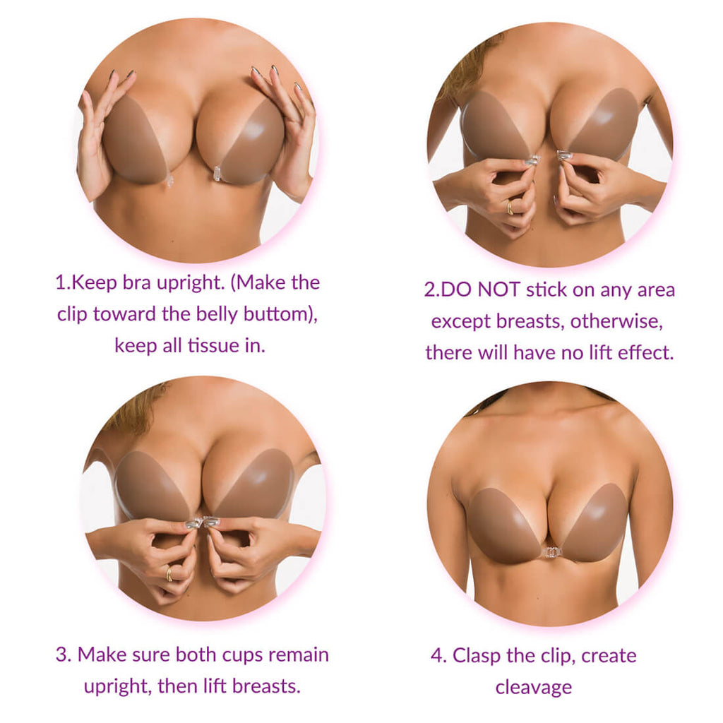 3D Magic Boobs silicone adhesive bra push up for backless dress | small or