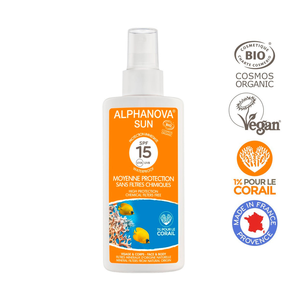 Alphanova Sun - Organic Certified Sun Milk, Average protection SPF 15, 125ml