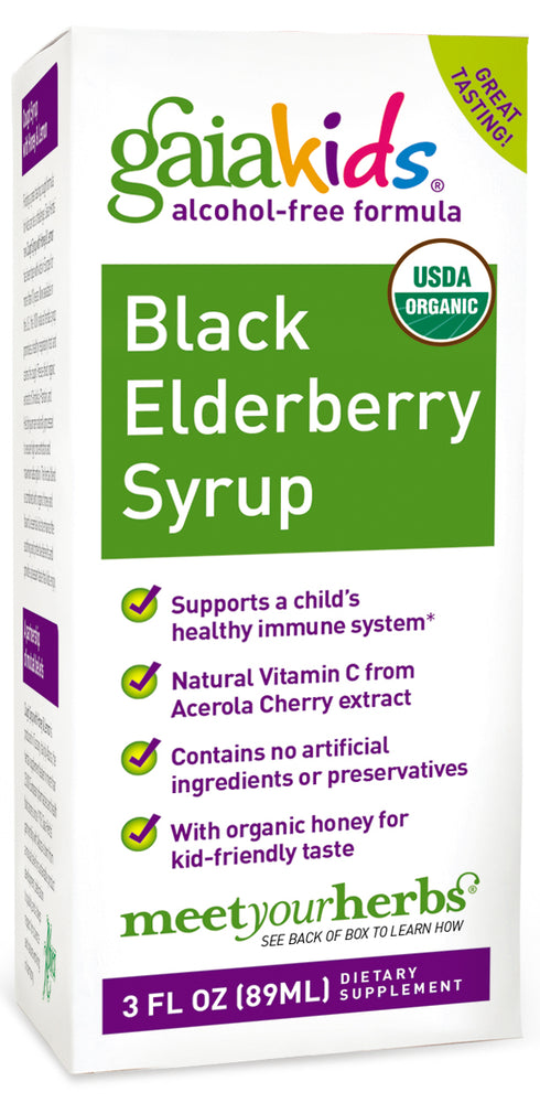 Gaia Herbs Gaiakids Black Elderberry Syrup - 89 ml