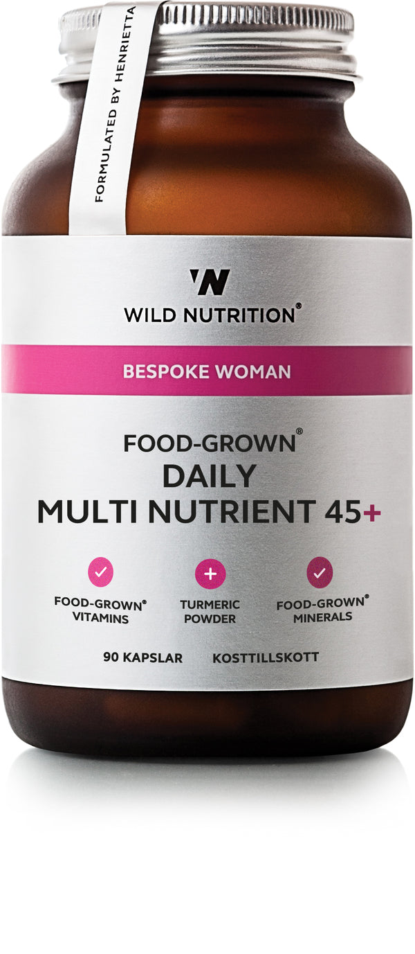 Glass, 90 kapsler, FOOD-GROWN® Multivitamin og mineral kvinne 45+