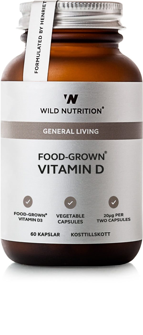 Rundt glass, 60 kapsler, OOD-GROWN® Vitamin D