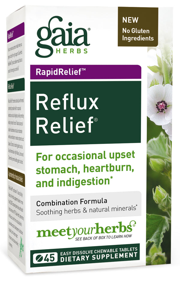 Glass med tabletter, Gaia Herbs Reflux Relief 15 tabletter