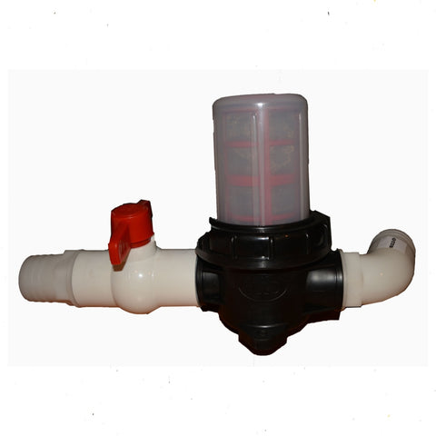 "Filter for Pump Suction 2"" with Ball Valve."