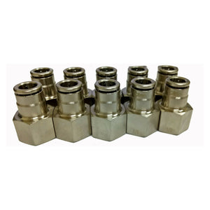 Air Fitting Push in 8 mm 3/8 Female Thread Set of 10 Suitable for Water/Chemical